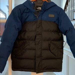 Boys Northface black and denim coat size 14 16